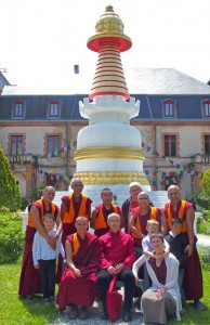 The monks of the tour, with Lama Shenpen Rinpoche at Vajra Yogini Institute, France.